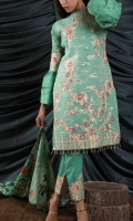 PURE ORGANZA EMBROIDED SHIRT FRONT 1.25 MTR JAQUARD ORGANZA SHIRT BACK 1.25 MTR JAQUARD ORGANZA SLEEVES .65 MTR DIGITAL PRINTED SILK DUPATTA 2.5 MTR SLUB JAQUARD DYED TROUSER 2.5 MTR EMBROIDERY 1 BORDER ON ORGANZA