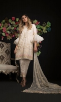 Embroidered Cotton Net Shirt Front 1.25 mtr. Embroidered Cotton Net Shirt Back 1.25 mtr. Embroidered Cotton Net Sleeves 0.65 mtr. Chiffon Embroidered Dupatta 2.50 mtr. Raw silk Dyed Trouser 2.50 mtr. Embroidery Border On Organza