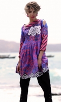 Fabric: Lawn  Color: Purple  Round Neckline  Frok Style Tunic  Embriodered front
