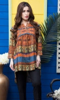 Fabric: Lawn  Color: Brownish orange  Boat neckline  Frock Style Tunic