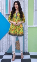 Fabric: Lawn  Color: Lemon Yellow  Embellished Y neckline  Frock Style Tunic