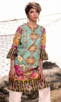 Fabric: Lawn  Color: Sea Green  Y Neckline  Printed front  Embriodered Daman