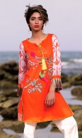 Fabric: Lawn  Color: Orange  Y Neckline  Embriodered front  Tussled Sleeves