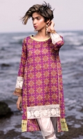 Fabric: Lawn  Color: Pink  Round Neckline  Printed front with embriodered daman  Embriodered Sleeves
