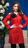 Fabric: Lawn  Color: Red  Embellished Neckline with black Flower  Shoulder Cut Sleeves