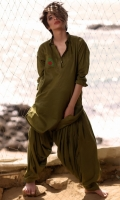 Fabric: Lawn  Color: Olive Green  2 Piece Shalwar Kameez  Embriodered Back