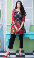 Fabric: Lawn  Color: Red  Round Neckline with button  Print front