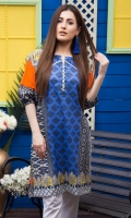Fabric: Lawn  Color: Blue and orange  Boat Neckline  Printed front