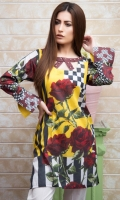 Fabric: Lawn  Color: Maroon and Yellow  Embellished Neckline  Printed front  Button Sleeves