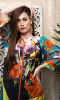 Fabric: Lawn  Color: Black  Boat Neck  Printed front  Cut sleeves