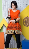Fabric: Lawn  Color: Orange  V Neck with front slit tunic  Sleeves Bow