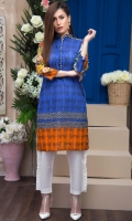 Fabric: Lawn  Color: Blue  Sherwani Collar  Embellished Front . Embellished sleeves