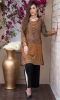 Fabric: Lawn  Color: Brown and orange  V neck  Embellished Front  Embellished sleeves