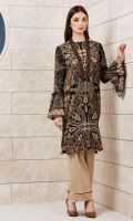 Printed Front And Back Embroidered Neck Patti Full Sleeves Wirh Frills