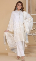 printed lawn shirt with Embellished placket with printed lawn tasseled dupatta and straight trouser in regular fit.