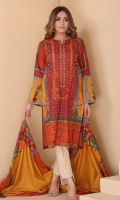 Digital printed and embellished straight shirt with printed lawn tasseled dupatta.