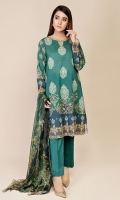 Printed Wider Width Lawn Shirt(2.50m) Printed & Embroidered Bember Chiffon Dupatta(2.50m) Dyed Cambric Shalwar(2.50m)