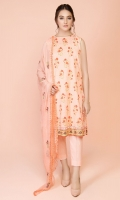 Printed Finer Lawn Shirt(2.75m) Digital Printed & Embroidered Crinckle Chiffon Dupatta(2.50m) Dyed Cambric Shalwar(2.50m)