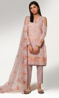 Printed Wider Width Cotton Lawn Shirt (2.75m) Dyed & Embroidered Poly Net Dupatta(2.50m) Dyed Cambric Shalwar(2.50m)
