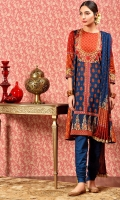 Printed and embellished wider width cotton lawn shirt(2.50m) Printed cotton lawn dupatta(2.50m) Dyed cambric shalwar(2.50m)