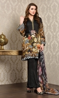 Printed cotton silk shirt(2.80M) Printed crinkle chiffon dupatta(2.50M) Dyed cotton silk shalwar(2.50M)