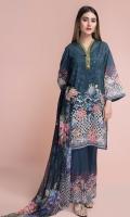 Digital Printed wider width Lawn Shirt(2.50m) Digital Printed PK Chiffon Dupatta(2.50m) Dyed Cambric Shalwar(2.50m)