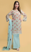 Printed Swiss Lawn Shirt(2.75m)  Dyed And Embroidered Chiffon Dupatta(2.50m)  Dyed Cambric Shalwar(2.50m)