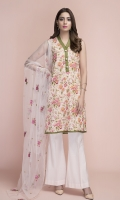 Printed wider width Lawn Shirt(2.50m) Dyed & Embroidered Poly Net Dupatta(2.50m) Dyed Cambric Shalwar(2.50m)