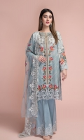 Printed wider width Lawn Shirt(2.35m) Dyed & Embroidered Poly Net Dupatta(2.50m) Dyed Cambric Shalwar(2.50m)