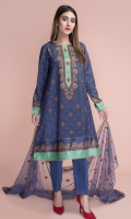 Digital Printed Cotton Silk Shirt(2.90m) Dyed & Embroidered Poly Net Dupatta(2.50m) Dyed Cotton Silk Shalwar(2.50m)