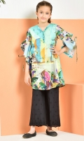 A-line printed shirt with free fall style sleeves