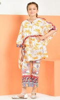 Printed Kaftan Paired With Printed Bell Bottom