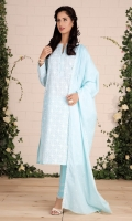 Dyed & embroidered wider width cotton lawn shirt front (1.25) Dyed & embroidered wider width cotton lawn shirt back(1.25) Dyed & embroidered value lawn dupatta (2.5) Dyed cambric shalwar (2.5)