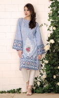 Printed wider width cotton lawn shirt (2.5) Embroidered organza broach (1)
