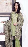2.5m printed and embroidered wider width khaddar shirt 2.5m printed wool shawl 2.5m dyed khaddar shalwar