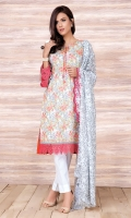 Printed value lawn shirt (2.5) Printed & embroidered value lawn dupatta (2.5) Dyed cambric shalwar (2.5)