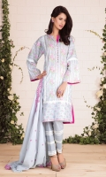 Printed & embroidered cotton lawn dupatta (2.5) Printed Wider Width cotton lawn shirt (2.5) Dyed cambric shalwar (2.5)