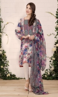 Printed Wider Width cotton lawn shirt (2.5) Embroidered organza lace (1.75) Dyed cambric shalwar (2.5) Printed crinkle chiffon dupatta (2.5)