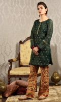 2pc -Embroidered zari silk net shirt with block printed trouser