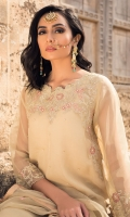 Organza embroidered & embellished shirt, Raw silk trouser, Organza embroidered dupatta