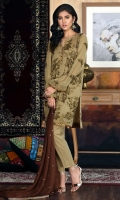 Embroidered chiffon shirt paired with plain raw silk trouser and embroidered dupatta