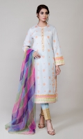 Printed Dobby Embl Shirt With Poly net Printed Dupatta & Printed Trouser