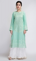 paste printed kurta with embellished neckline
