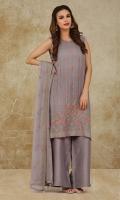 Dyed & Embroidered Crinckle Chiffon Shirt Front(1.25m) Dyed, Embroidered and embellished Crinckle Chiffon Back & Sleeves(1.50m) Dyed, Embroidered & Embellished Crinckle Chiffon Dupatta(2.50m)