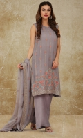 Dyed & Embroidered Crinckle Chiffon Shirt Front(1.25m) Dyed, Embroidered and embellished Crinckle Chiffon Back & Sleeves(1.50m) Dyed, Embroidered & Embellished Crinckle Chiffon Dupatta(2.50m)