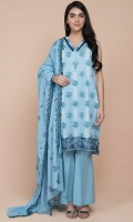 Printed Wider Width Lawn Shirt(2.50m) Printed & Emboridered Cotton Lawn Dupatta(2.50m) Dyed Cambric Shalwar(2.50m)
