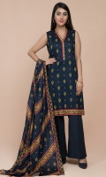 Printed Wider Width Lawn Shirt(2.50m) Printed Cotton Lawn Dupatta(2.50m) Dyed Cambric Shalwar(2.50m)