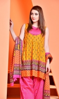Printed cotton lawn shirt(2.5M)  Printed cotton lawn Dupatta(2.5M) Printed cambric shalwar(2.5M)