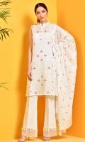 Half Bleach and embroidered cotton lawn shirt front(1.25m) Half Bleach and embroidered cotton lawn shirt back(1.75m) Half Bleach and embroidered ww cotton lawn dupatta(2.5m)
