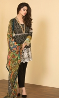 Printed Cotton Lawn Shirt(3M), Printed Crinkle Chiffon Dupatta(2.5M),Dyed & Embroidered Polyester Net Lace(1.5M),Dyed Cambric Shalwar(2.5M)